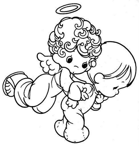 Pinto Dibujos: Angel de la guarda cuidando a niño para colorear ...