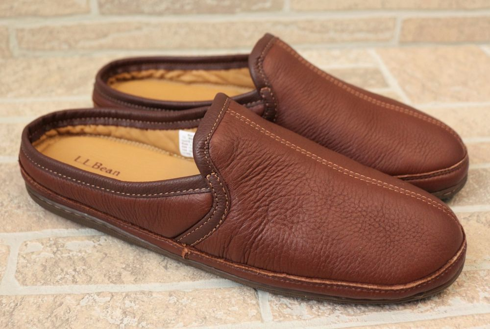 73945ca166b LL Bean Elkhide Slipper Scuffs Brown Leather Mens Size 13M Slip On  Cushioned EUC  LLBean  Slippers