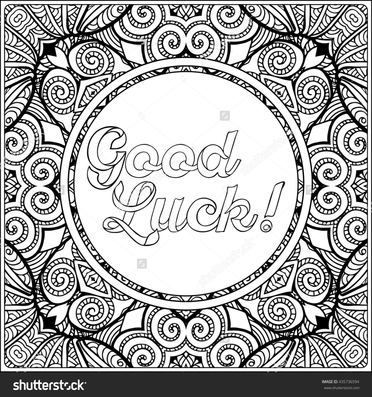 good luck coloring pages Good Luck Lettering. Coloring Page With Message On Vintage Pattern  good luck coloring pages