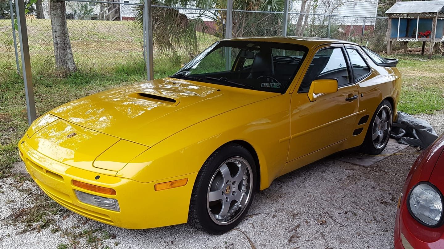 Porsche 944 with a 2002 Subaru WRX hood scoop and custom