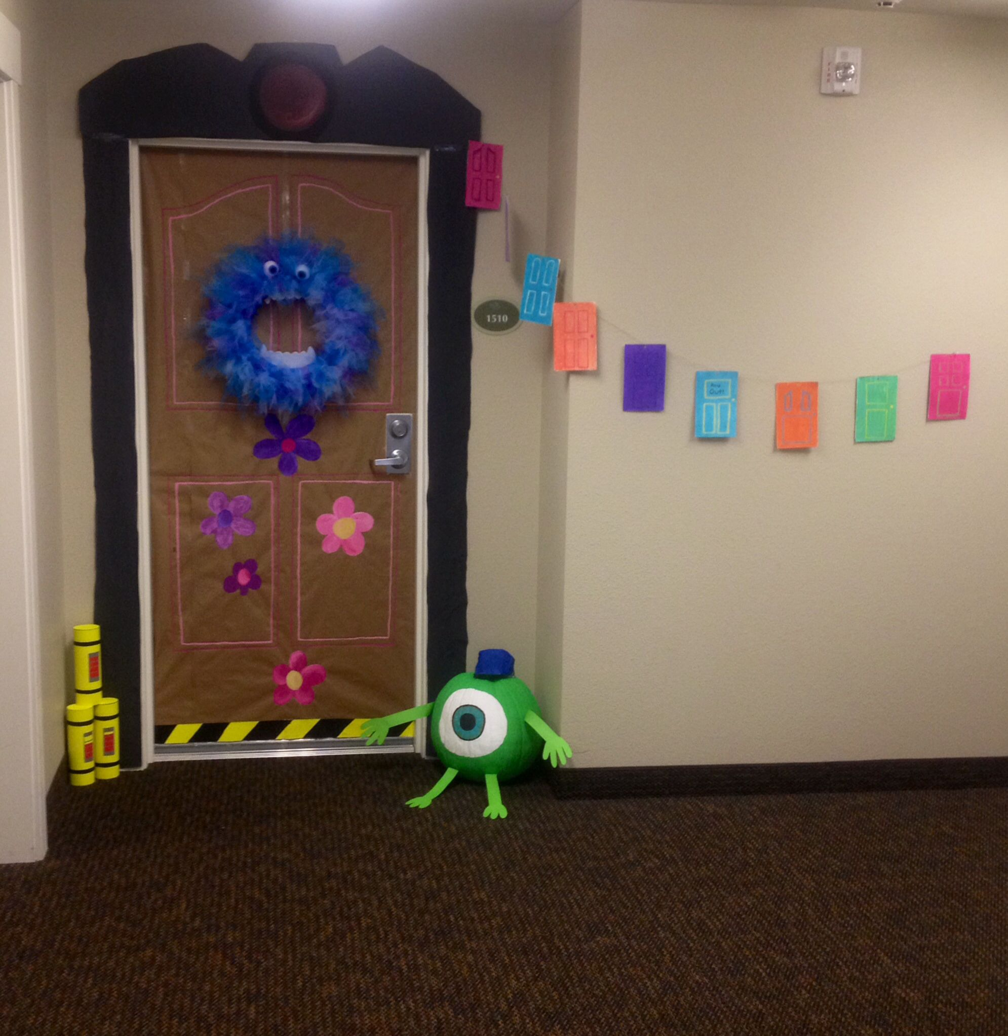 Halloween dorm door decorations - Monsters Inc Door Decoration For Halloween