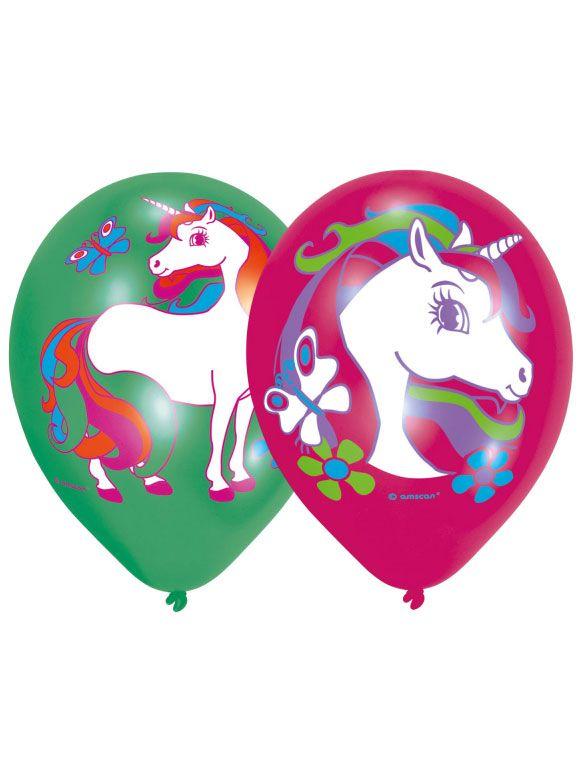 6 Palloncini In Lattice Unicorno Colorati Festa Unicorni Magici