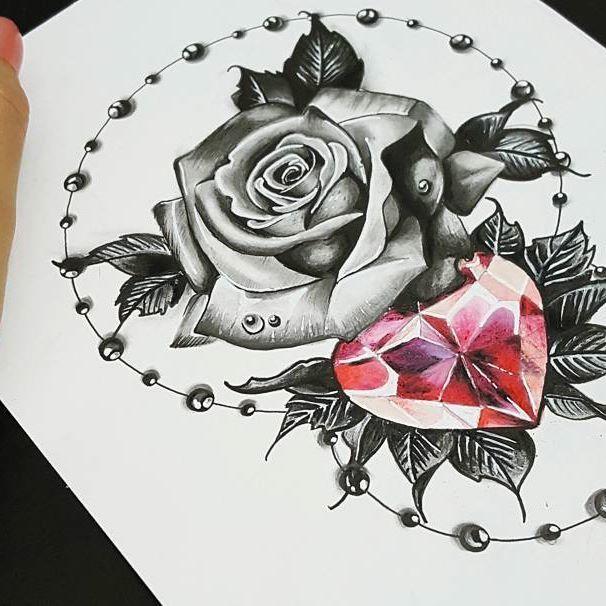 Work out. pukink blackandgrey rose realistic diamond