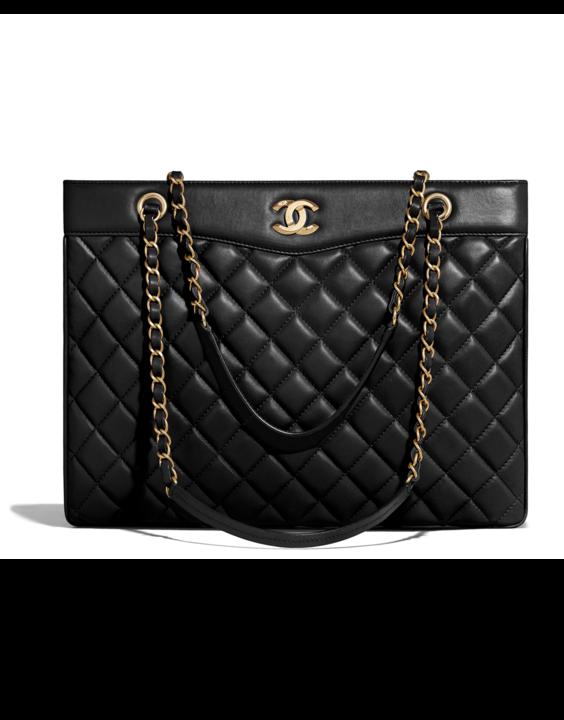 fb91e04bac9 Large shopping bag, lambskin   gold-tone metal-black - CHANEL ...