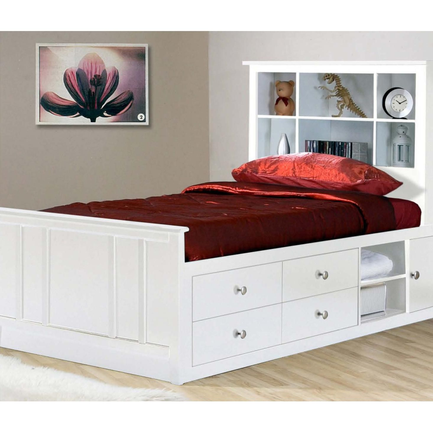 Twin bed with storage and headboard - Millie White Millie White Twin Captain S Bed By Private Reserve