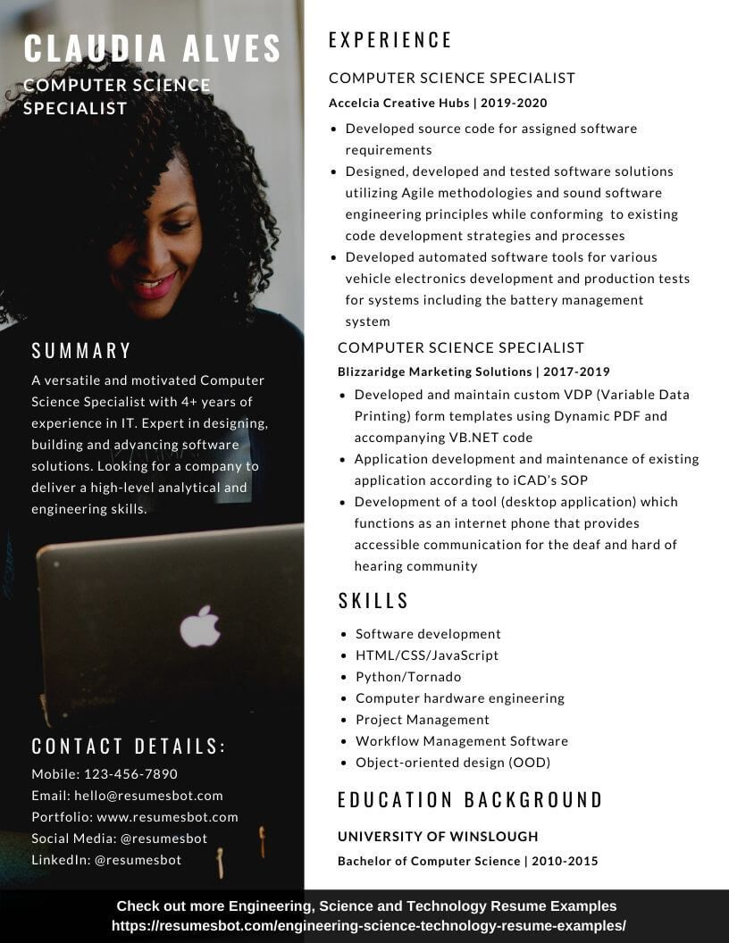Computer science resume samples and tips pdfdoc with