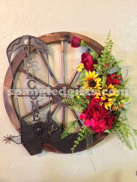 Wagon Wheel Wall Decor wagon wheel floral welcome wall hanging | custom floral