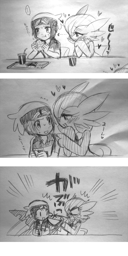 3koma bano akira comic gardevoir pokemon sharpedo sketch
