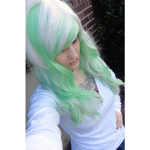 White blonde and green wig// emo girl scene punk gothic raver // bangs... ❤ liked on Polyvore featuring beauty products, haircare, hair styling tools, hair, people and curly hair care
