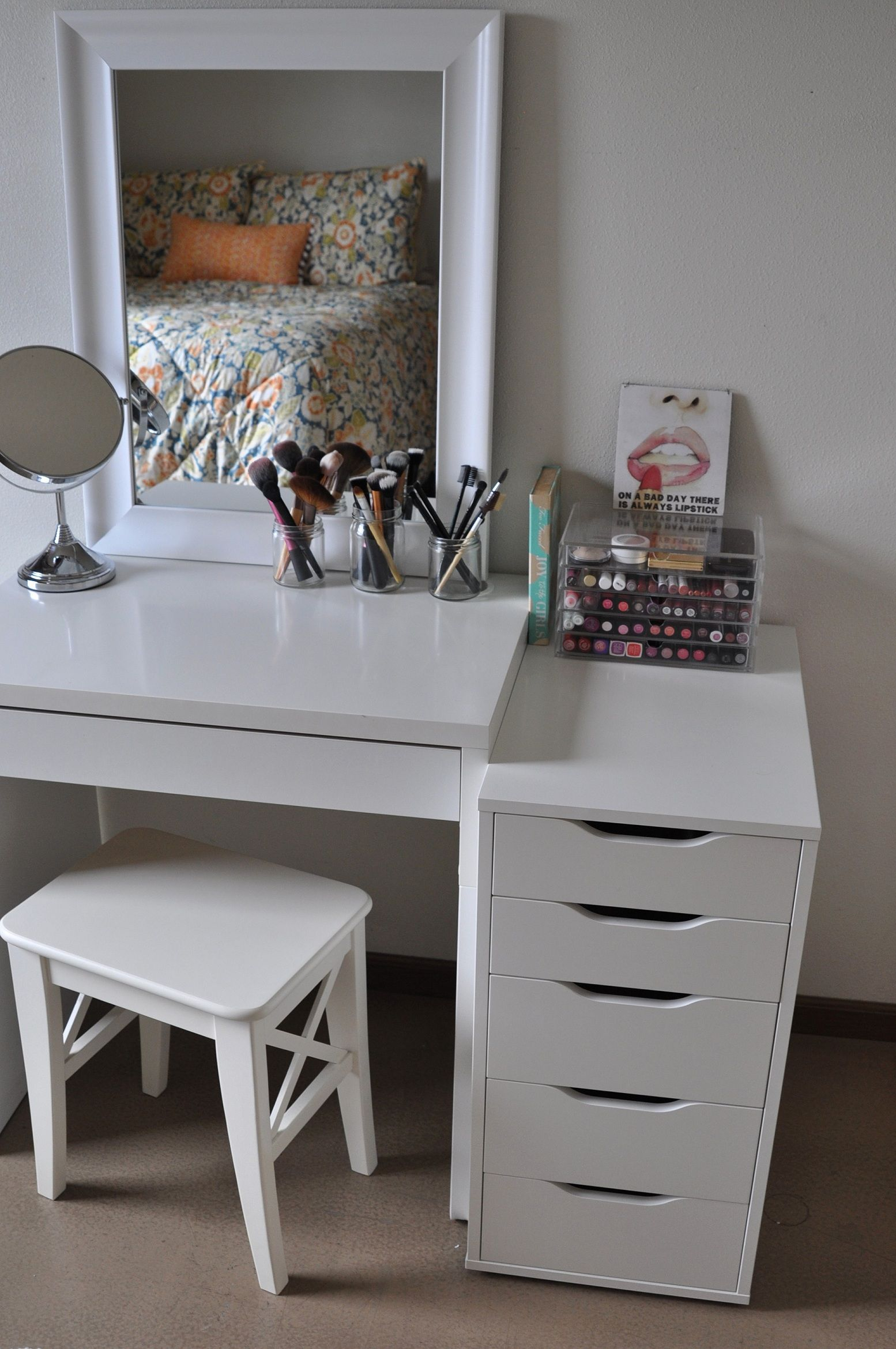 clear makeup vanity table. This modern mirrored makeup vanity  paint vanities with four drawers and mirror lights White color is really popular today Makeup corners Pinterest