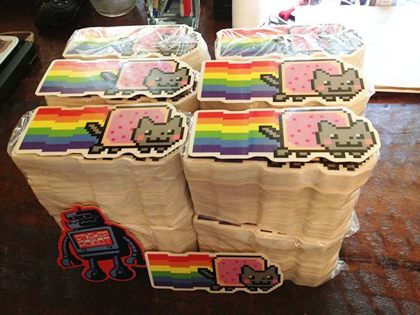 Stacks of nyan cat diecut vinyl stickers