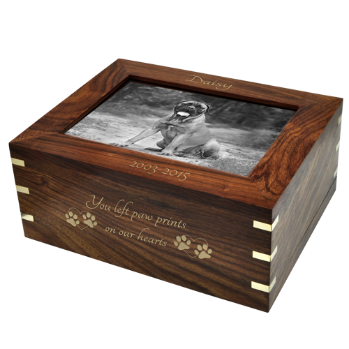 Perfect Framed Photo Wood Dog Pet 160 cu in Cremation Urn