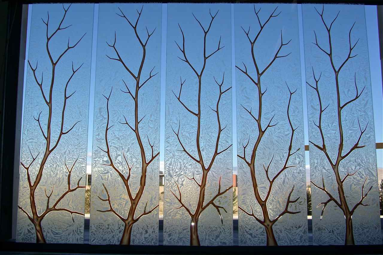 glass etching patterns | Etched glass windows, carved painted glass Tree Branches design by ...