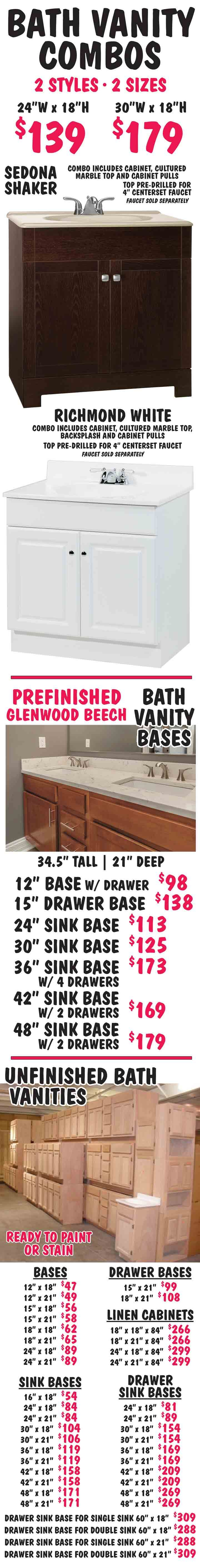 Southeastern Salvage Home Emporium Chesapeake Kitchen And Bath Vanity Combos Vanity Bases