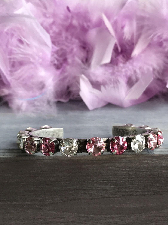 Swarovski Crystal Cuff Bracelet in Rose, Light Rose and Crystal