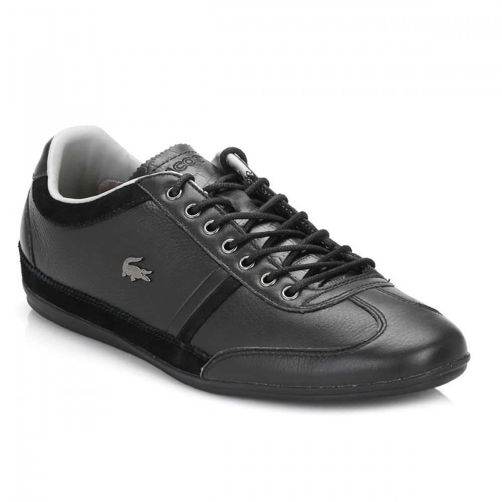 0942a627c264 Lacoste Mens Black Misano 36 Leather Trainers