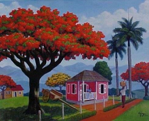 Flamboyan De Puerto Rico Cuadros Acuarela Pinturas Acrílico