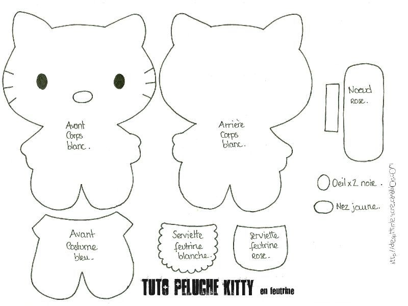 Tuto peluche kitty en feutrine 1 hello kitty pinterest feutrine et tuto - Tuto chat en tissu ...