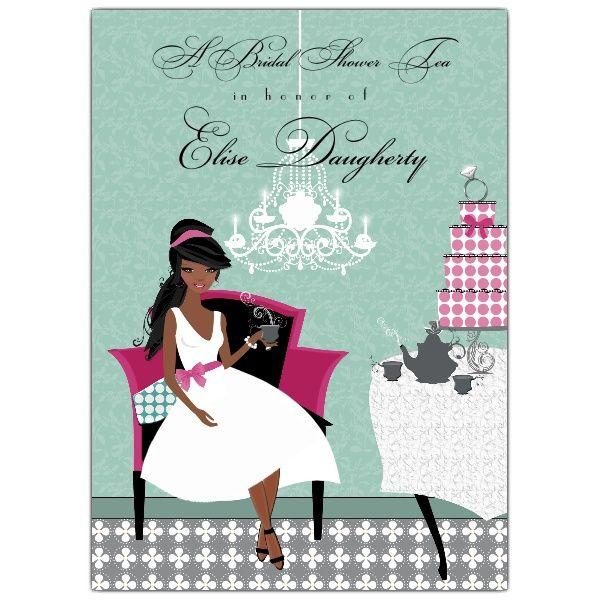 Ladies Tea African American Bridal Shower Invitations – Bridal Shower Invitations Tea Party Theme