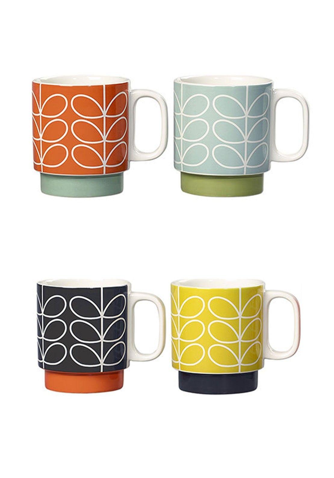 Orla Kiely Ceramic Stacking Mugs Set Of 4 Mcelhinneys Mugs Set Mugs Ceramic Mugs