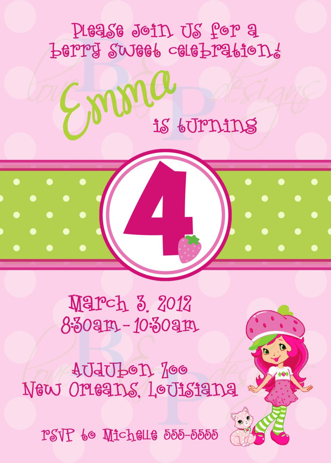 Strawberry Shortcake Birthday Invitation digital design 1500