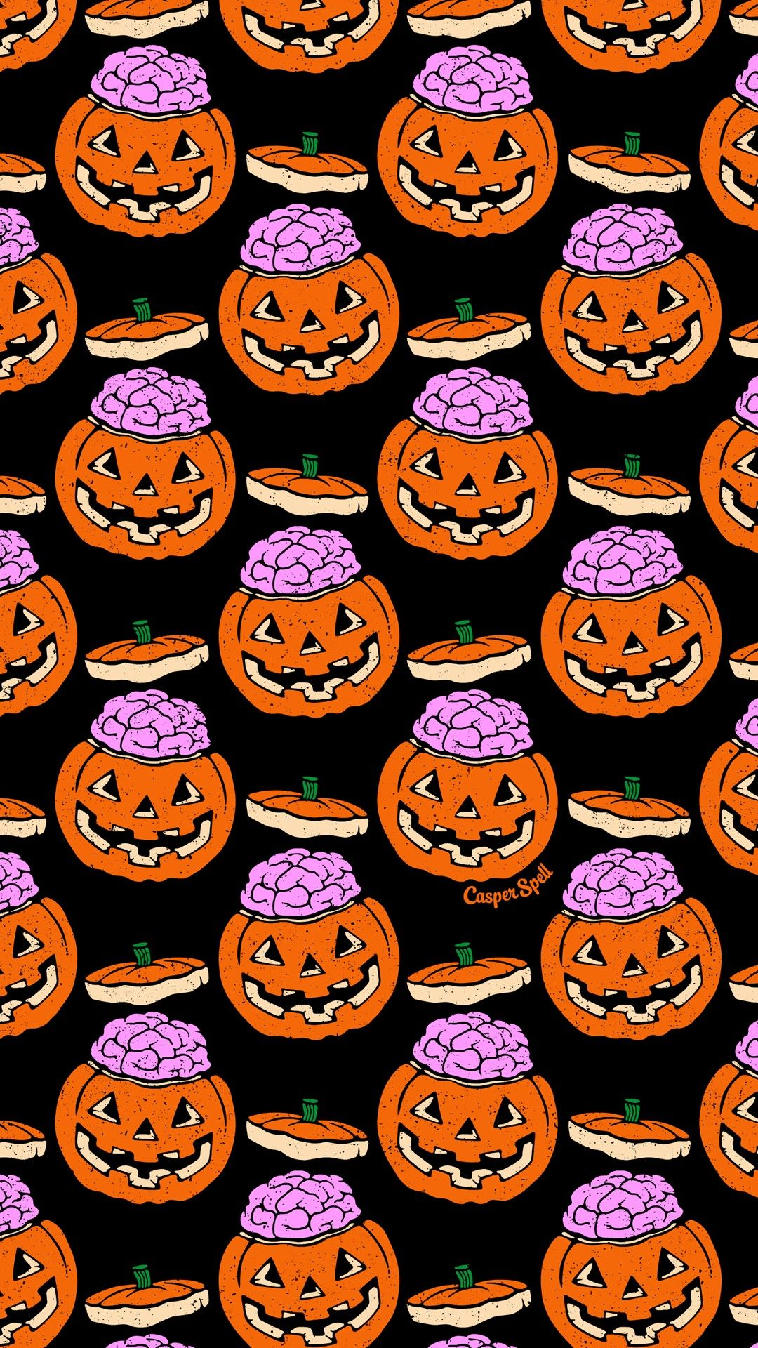 Halloween Pumpkin Brain Repeat Pattern By Casper Spell Cute Spooky Phone Wallp Halloween Wallpaper Iphone Halloween Wallpaper Backgrounds Halloween Wallpaper