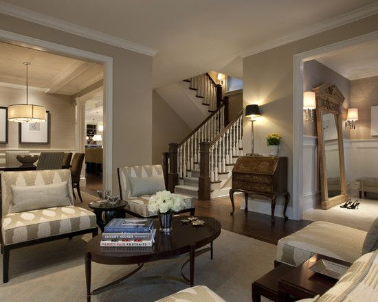 The Wall Color Is Benjamin Moore Shaker Beige In Living Room And A Larsen Grasscloth Wallcovering Foyer Dining