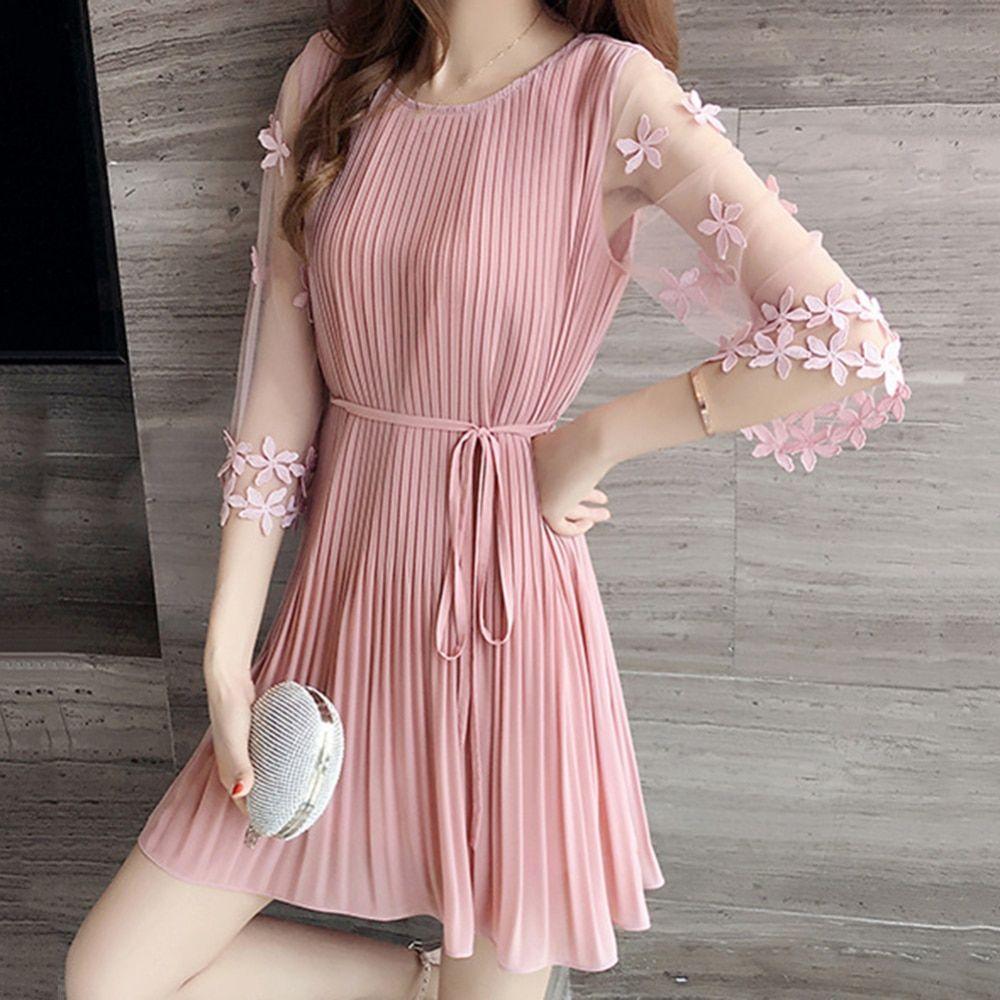 9.68US $  Fashion Sweet Style Female Dresses Summer Short Sleeve Slim Pink Dress 2019 New Women Korean Black Elegant Dress Dresses    - AliExpress