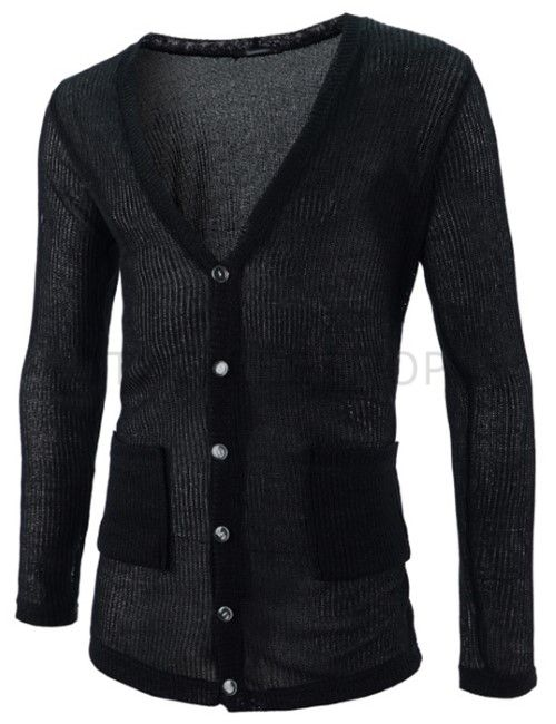 (GAC04-BLACK) Mens Slim Fit Knitted Corduroy 6 Button 2 Pocket Long Sleeve Cardigan