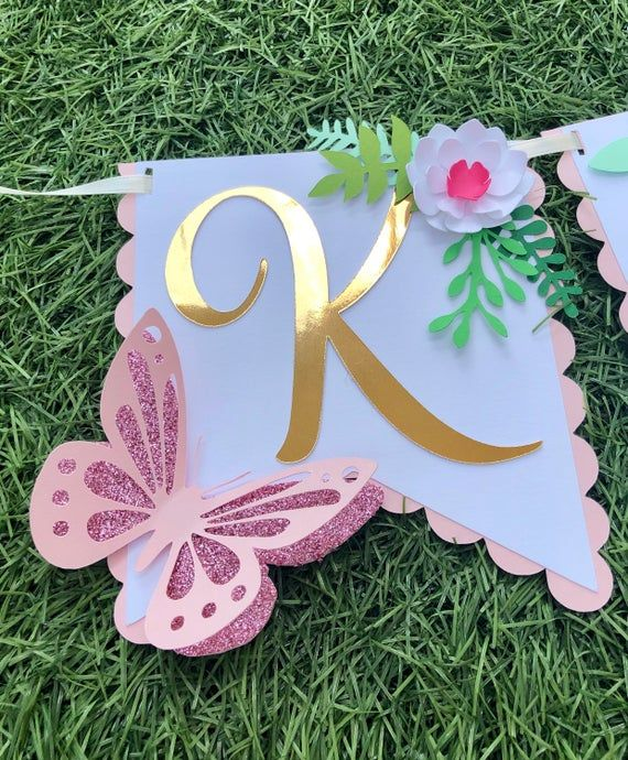 Two Butterfly Highchair Banner-Butterfly Theme Birthday Banner-Butterfly Banner-Butterfly Two Banner-Butterfly Theme Two Banner-Two banner