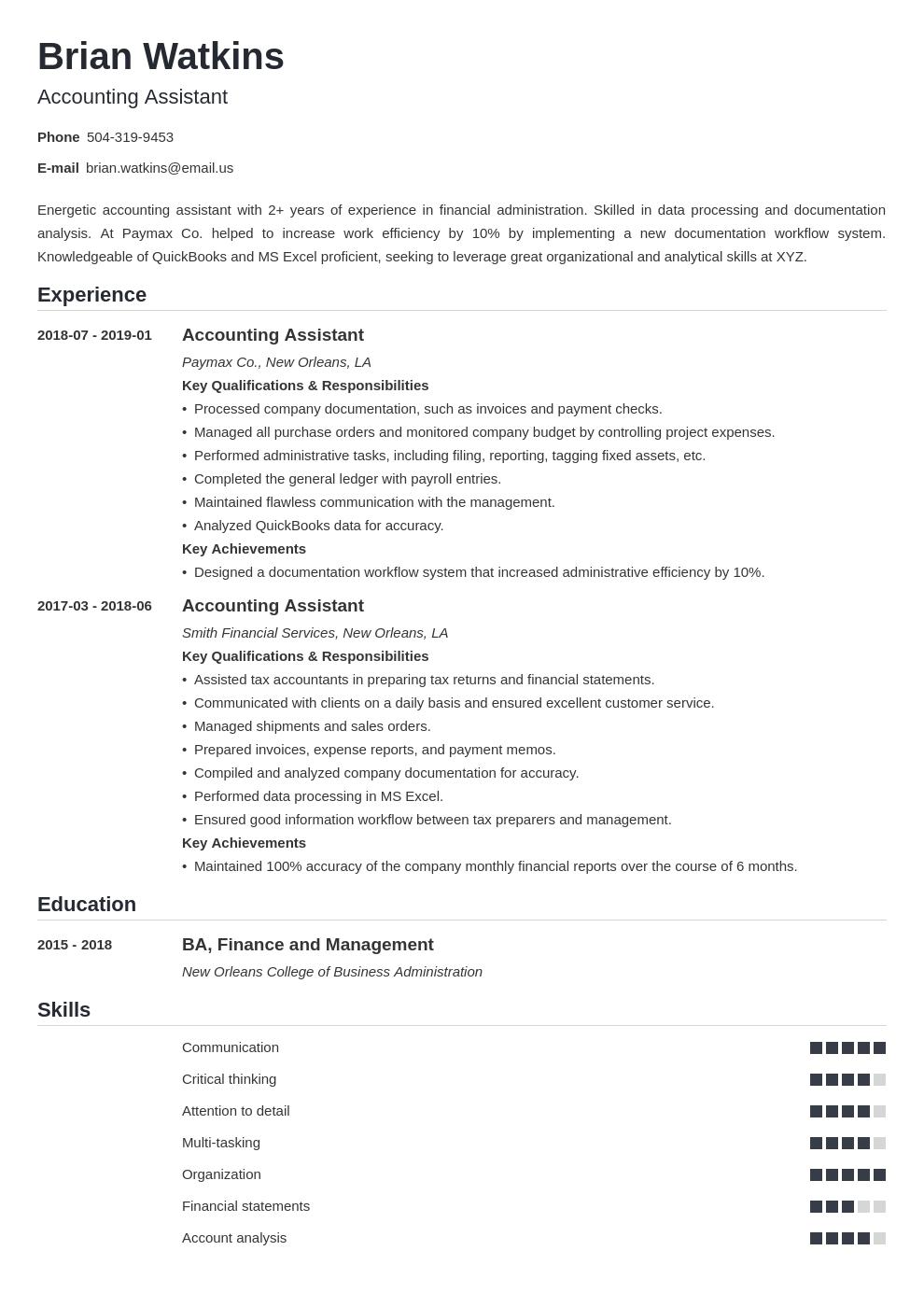 accounting assistant resume example template nanica in