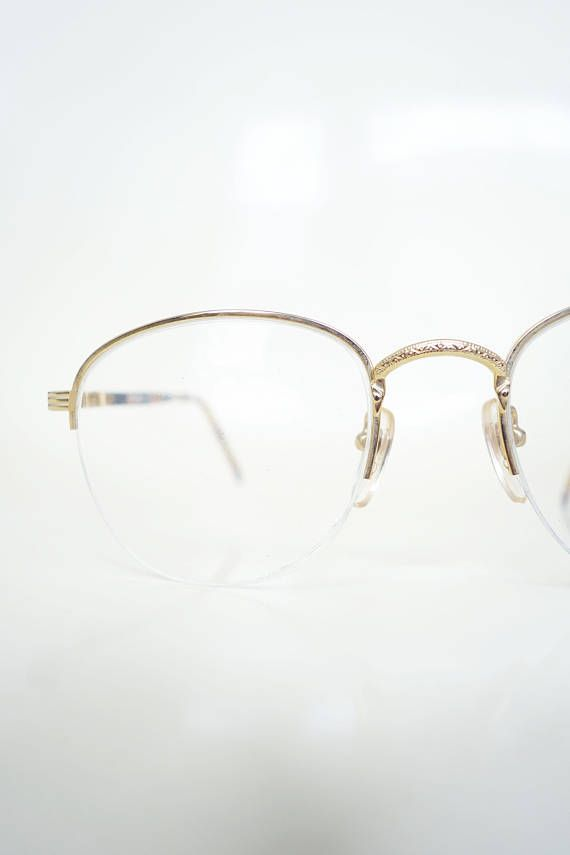 5f1e3536aeab 1980s Round Glasses Womens Gold Wire Rim Frames Deadstock Vintage 80s Geek  Chic Nerdy Sexy Librarian Eighties Classic NOS