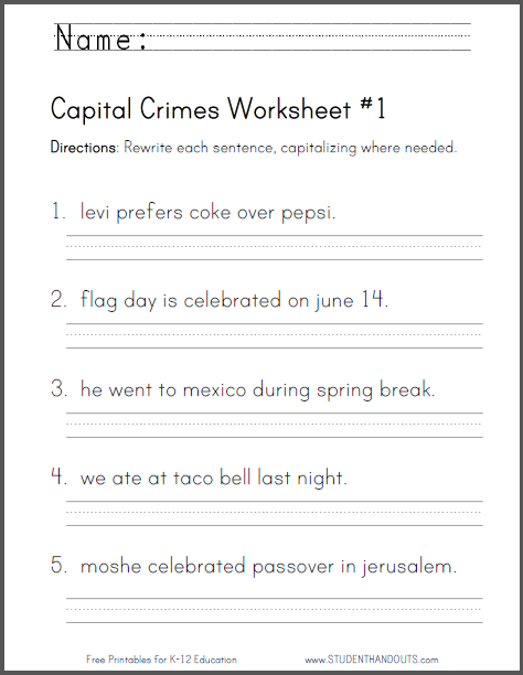 Capital Crimes Worksheet #1 - Grade Two - CCSS: L.2.2.a | Primary ...