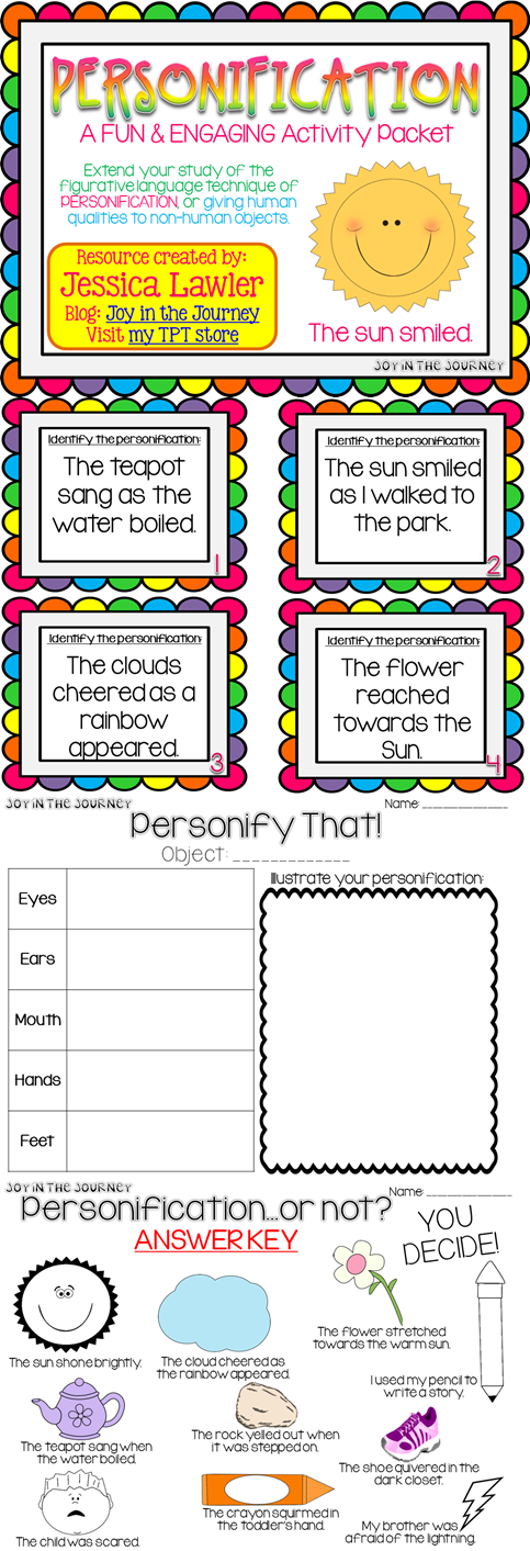 Personification Activity Packet   Joy in Teaching ...