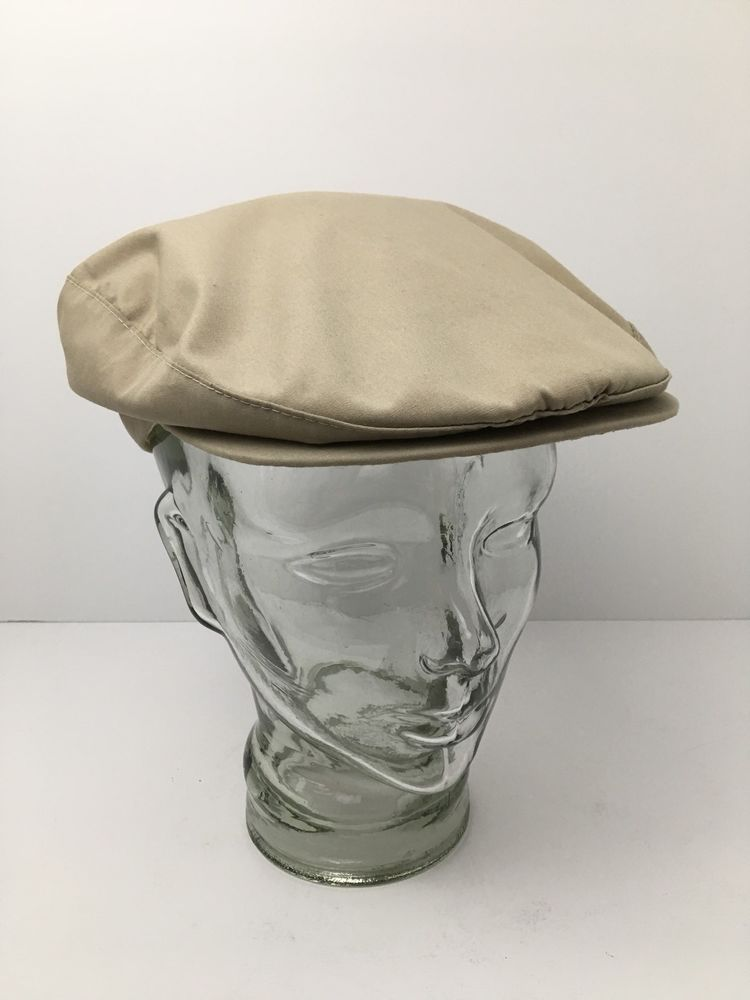 Vintage Borsalino Flat Cap Lightweight Golf Hat Union Made USA Khaki Medium   Borsalino  FlatCap 01be353eea9
