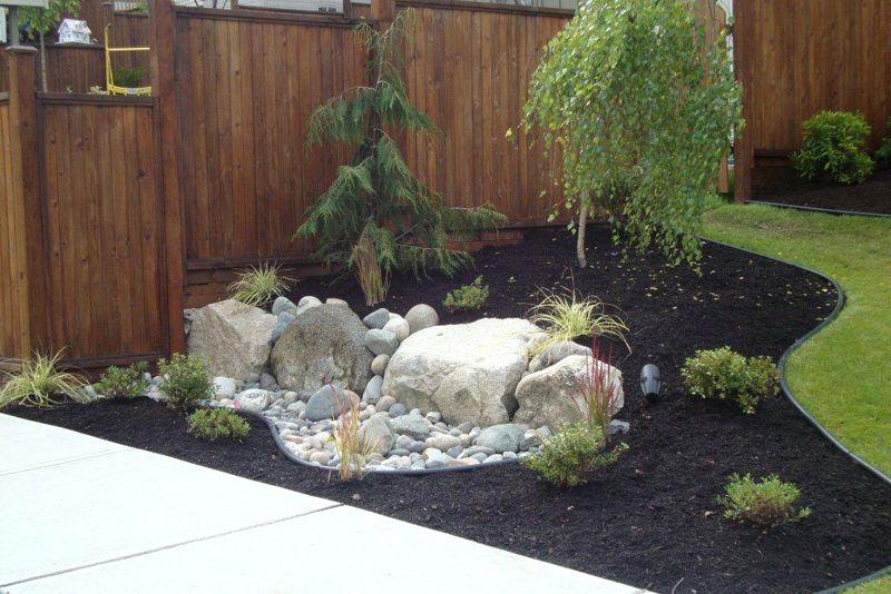 Backyard Garden Section Boulders/tree/dark Mulch/outline Part 55