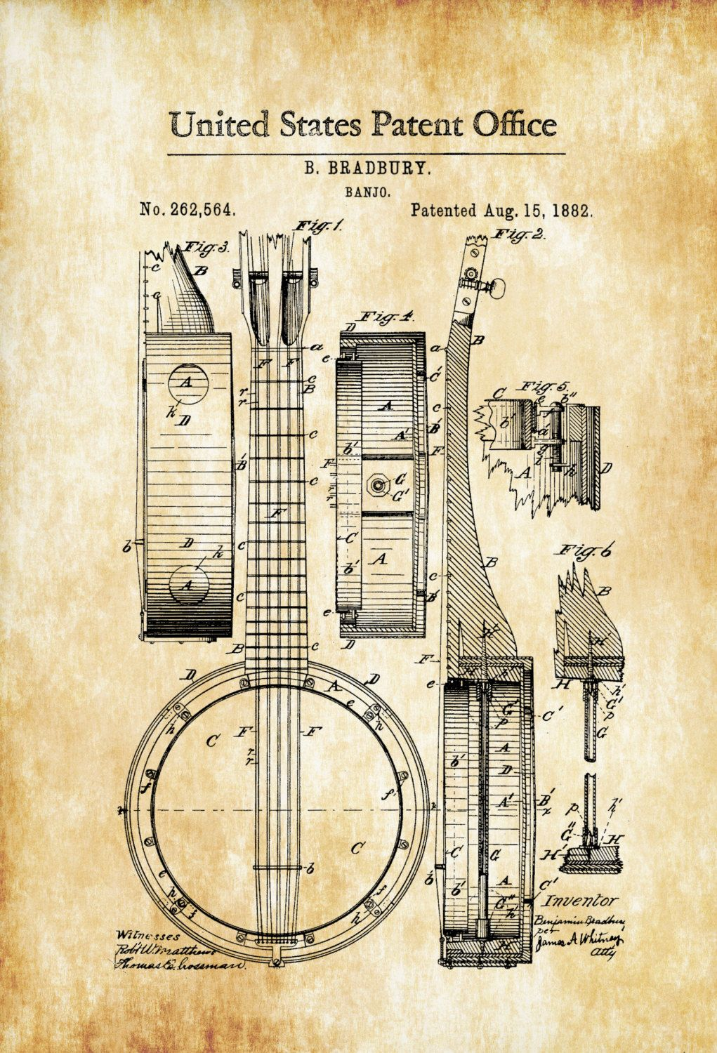 408ec7e451 A patent print poster of a Banjo invented by B. Bradbury. The patent was  issued by the United States Patent Office on August 15, 1882. The banjo is  a four-, ...