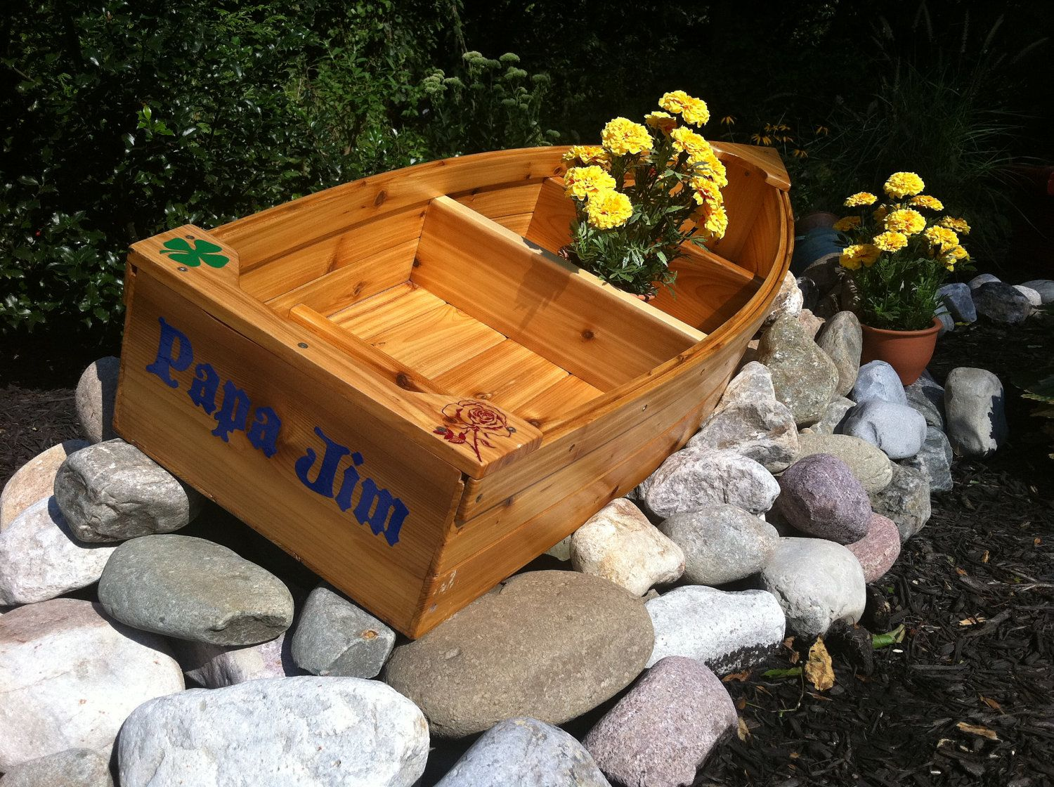 Nautical all cedar boat and trailer outdoor landscape garden box ...