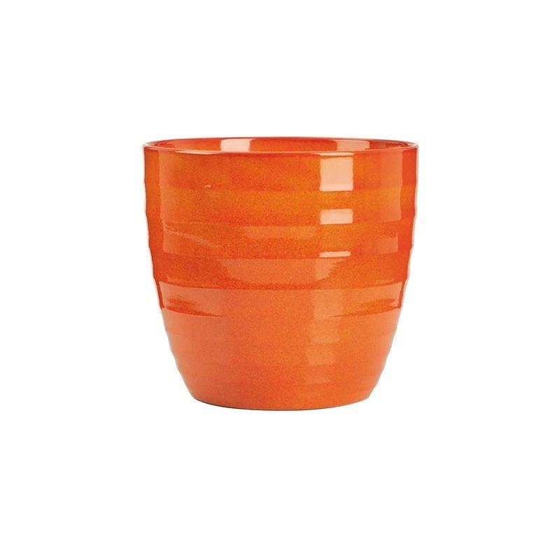 Ceramic Indoor Plant Pot In Red Orange 14cm Garden Plants