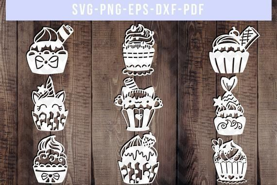 Photo of bundle of 9 cupcake papercut templates, baby shower cut file…