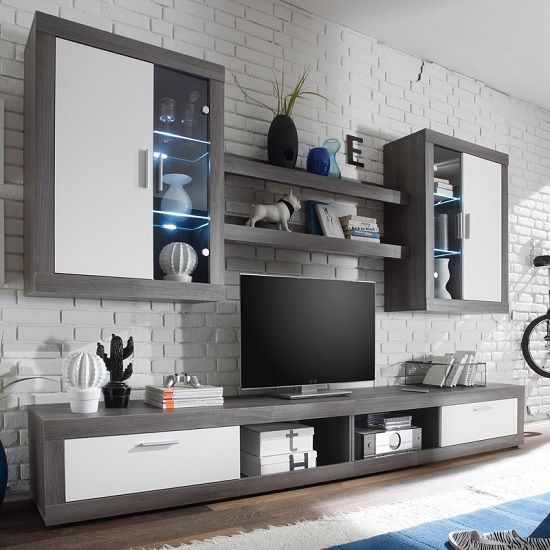 Essen Living Room Collection In Smoke Silver White Front And Led Living Room Furniture Sets Packages Furnitureinfashion Uk Muebles Para Tv Muebles
