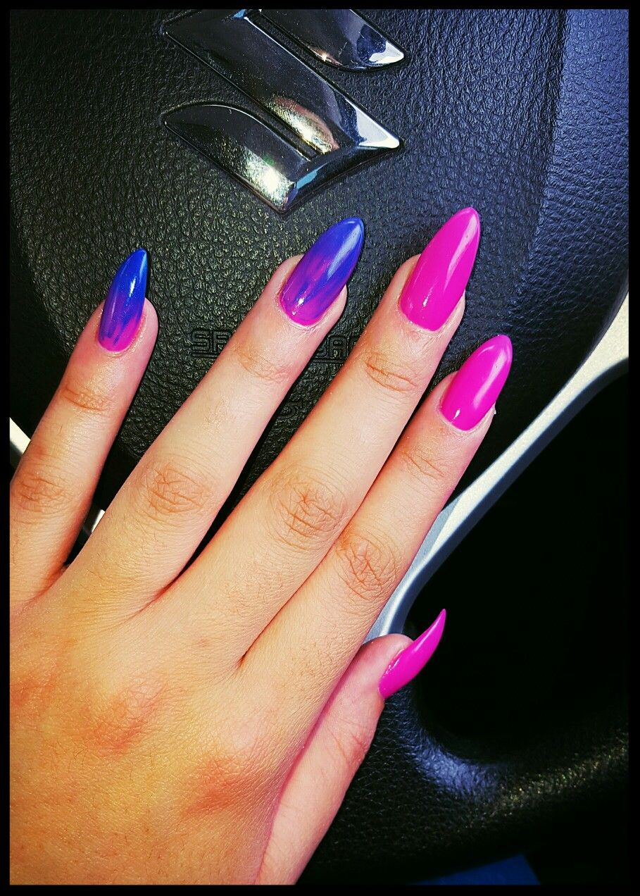 Fuschia with a touch of blue stiletto nails | Nail art & designs ...