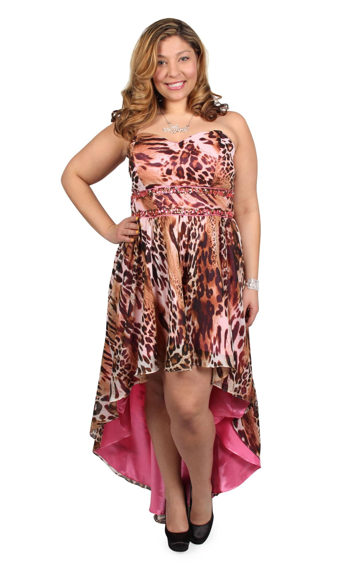 plus size cheetah print chiffon high low gown (This is at
