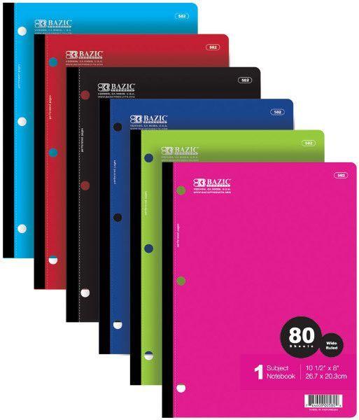 bazic w/r 80 ct. 1-subject wireless notebook Case of 24