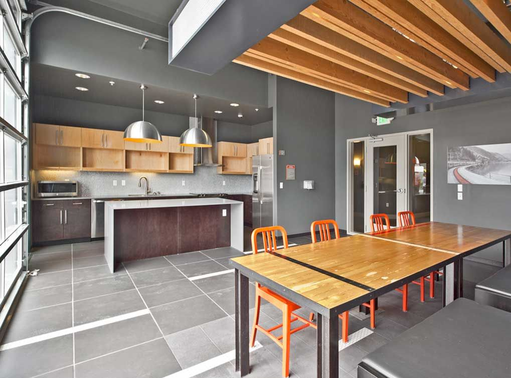 Best Apartments Seattle resident clubroom with full kitchen at amli south lake union