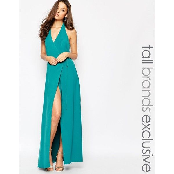 Jarlo Tall Halter Neck Maxi Dress ($120) ❤ liked on Polyvore featuring dresses, green, v neck halter top, halter top maxi dress, tall dresses, halter maxi dress and green halter top
