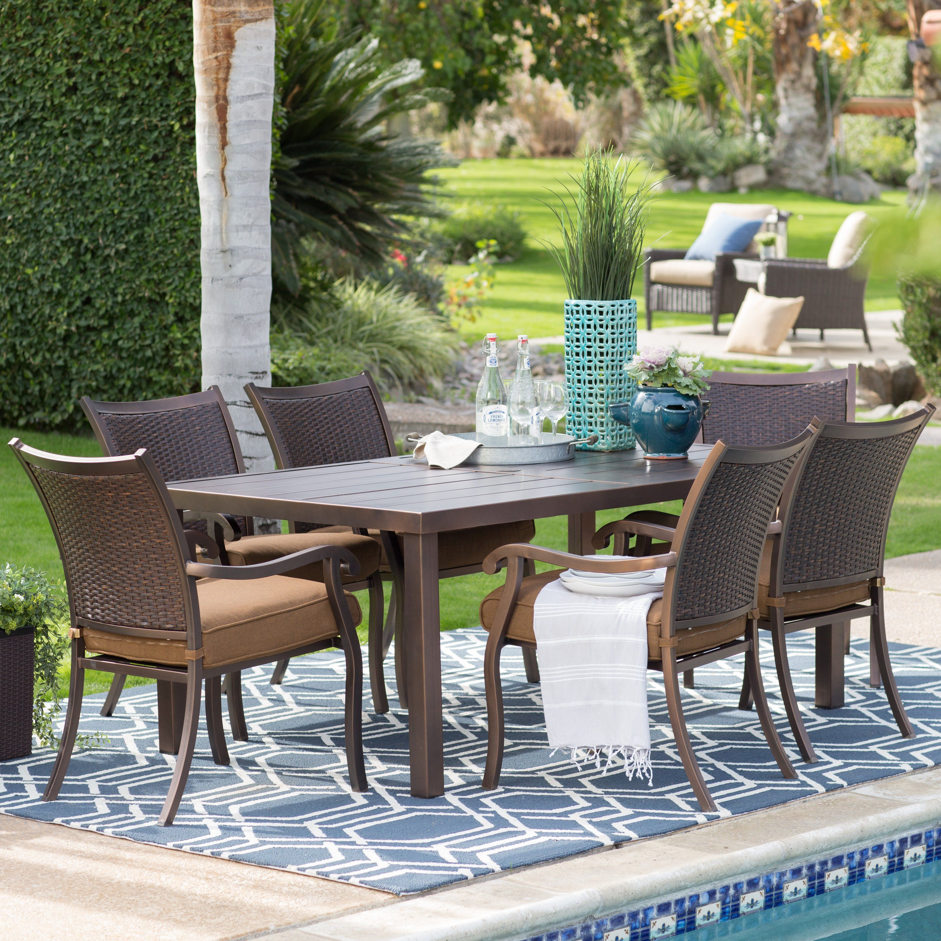 Belham Living San Marino Patio Woven Back Dining Chair And Steel Slatted  Table Set   Seats