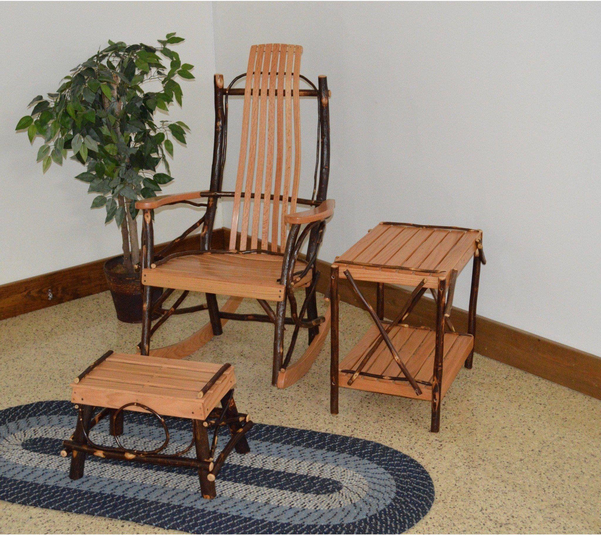 A & L Furniture Co. Amish Bentwood 7Slat Hickory Rocking