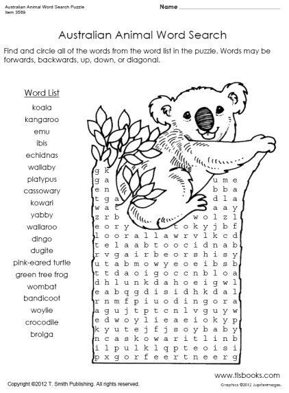 Australian Animal Word Search Puzzle Worksheet Australian