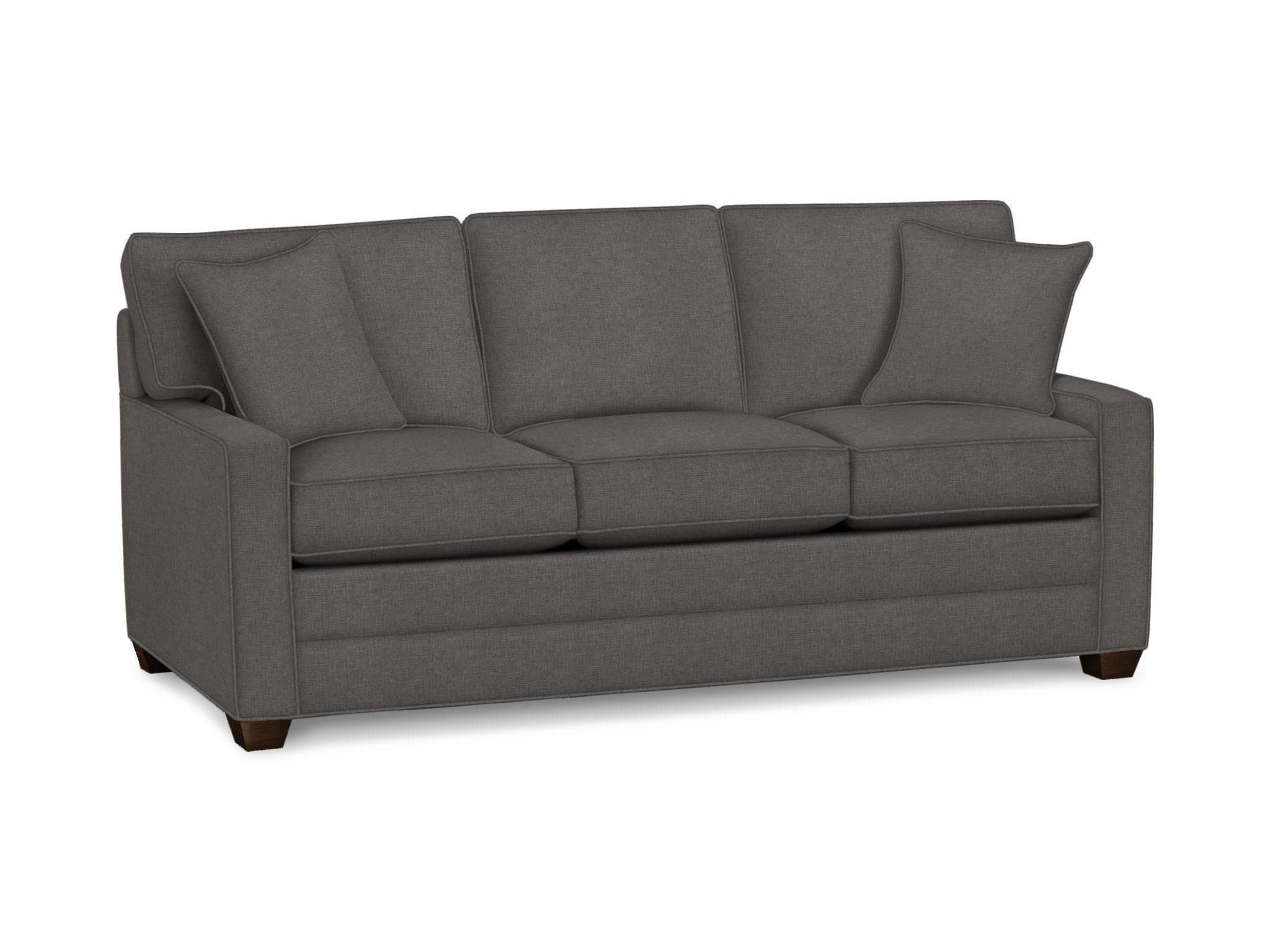 Track Arm Sofa Twin Sleeper Black Faux Leather Ethan Allen Bennett Three Cushion Item